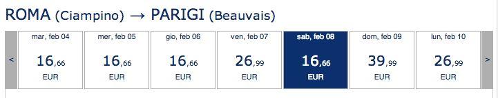 Voli Ryanair per Parigi a € 16,66 tutto compreso