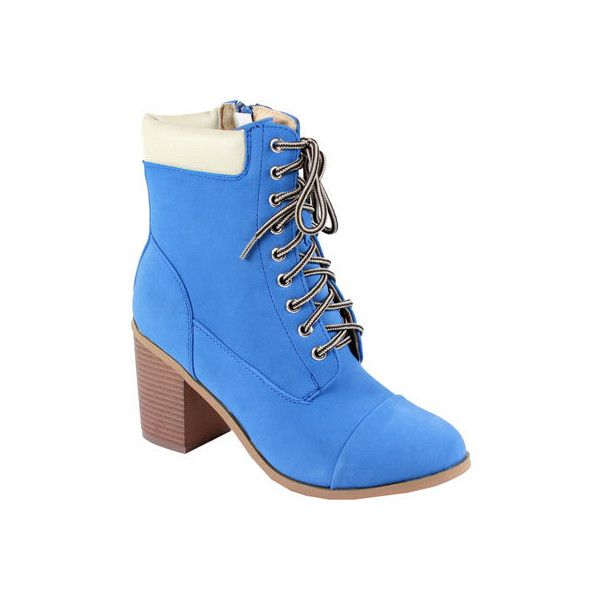 Women's Reneeze 15016-01 Lace-up Stacked Heel Working Bootie - Blue PU... (£30) ❤ liked on Polyvore featuring shoes, boots, ankle booties, blue, laced booties, stacked heel booties, ankle boots, blue ankle boots and lace up boots