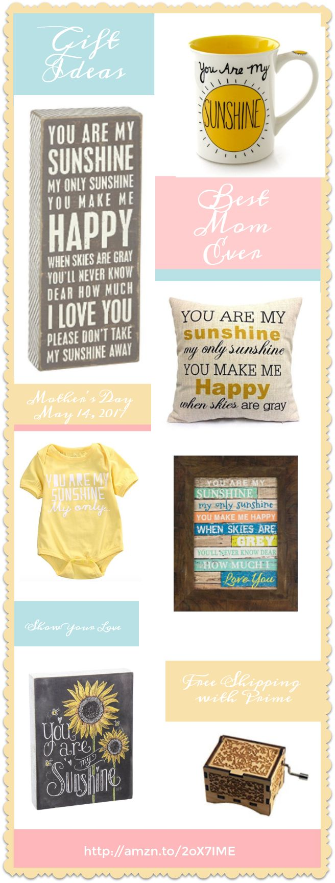 Does Mom make you happy when skies are gray? Mother's Day Gifts - You are My Sunshine http://amzn.to/2oX7IME - Lots of ideas and free shipping with prime ;)