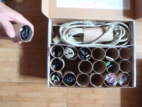 wire organization with toilet paper rolls - write on toilet paper roll what the wire is for