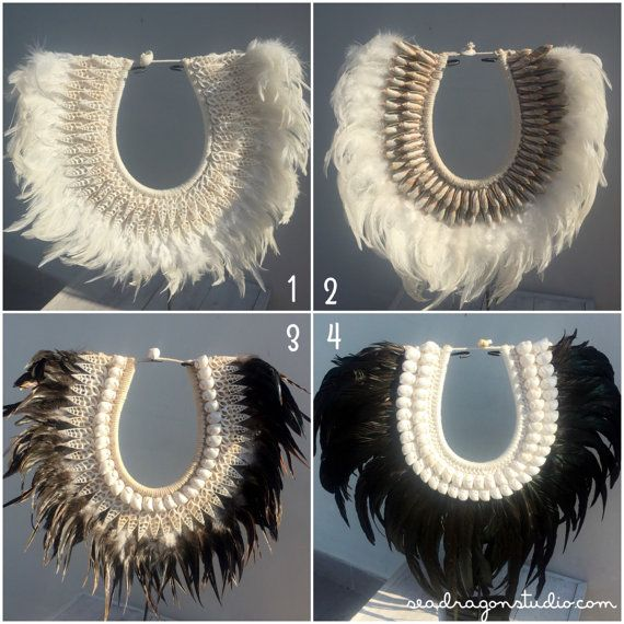 Shell & Feather Collars Burning Man Costumes by SeaDragonStudio