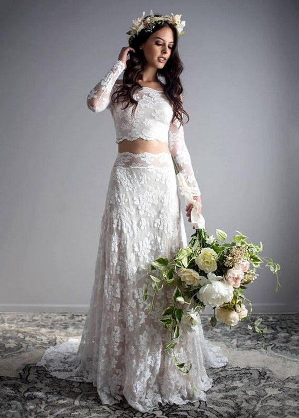 Gorgeous Two Piece Lace Wedding Dress With Long Sleeves Weddingdress Weddinginspiration Bridalfashion