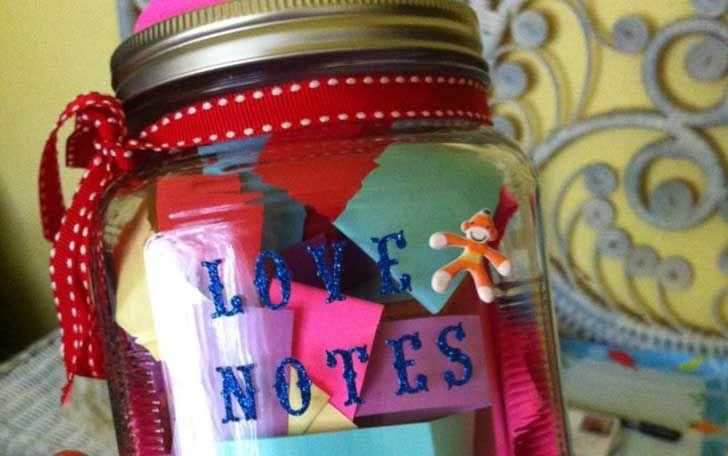 frasco de notas de amor