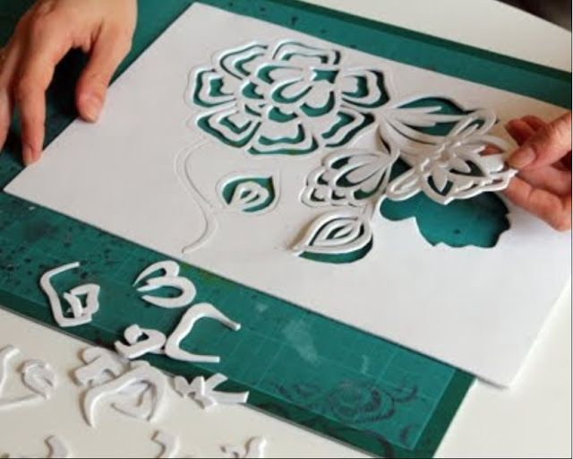 Craft foam stencils for clay textures.