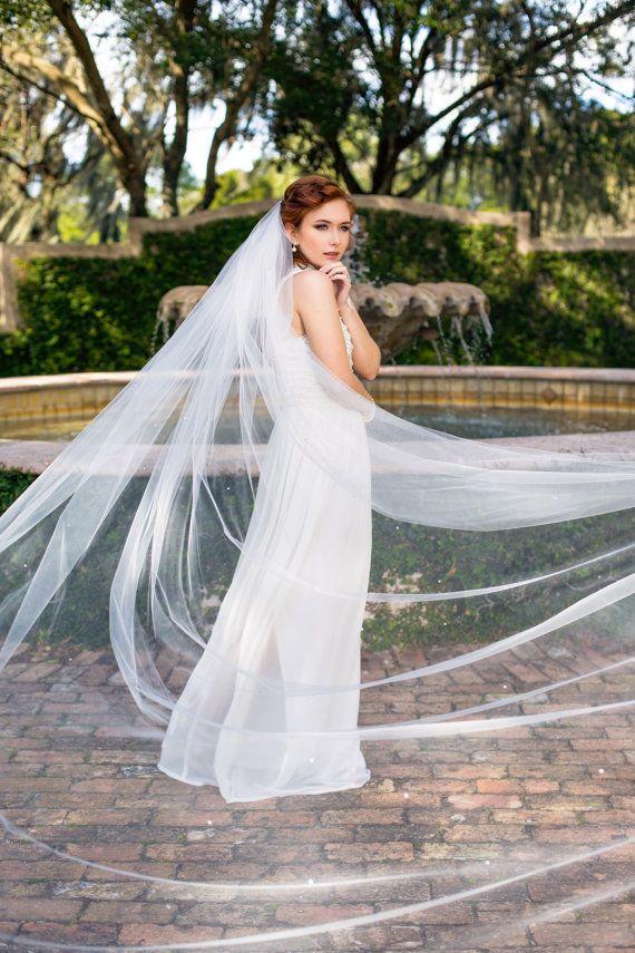 "Bride Cathedral veil 112"" wedding veil with Swarovski"