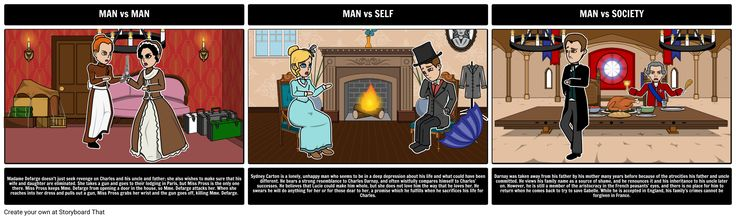 A Tale of Two Cities - Literary Conflict: It was the best of times, it was the worst of times. Having students create storyboards that show the cause and effect of different types of conflicts strengthens analytical thinking about literary concepts. For this activity, have your students choose an example of each literary conflict and depict them using the storyboard creator.