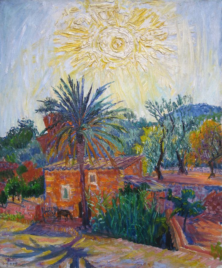 'Evening, Majorca' Oil on Canvas: 74 x 61 cm Signed. Dated verso 1962 by Fredercik Gore RA (1913 - 2009)