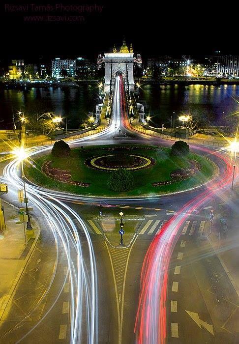 The CHAIN BRIDGE   at night, in  Budapest, Hungary