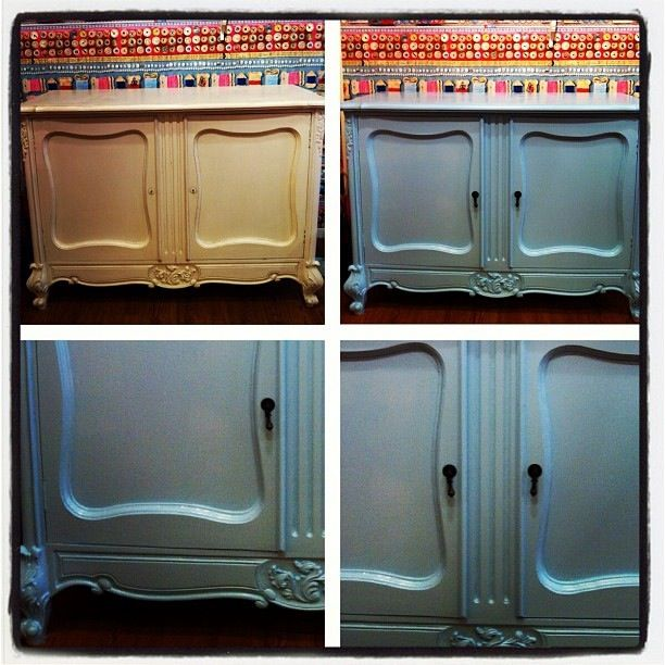 Painted furniture. Used Dulux satinwood on this French sideboard. Love blue x