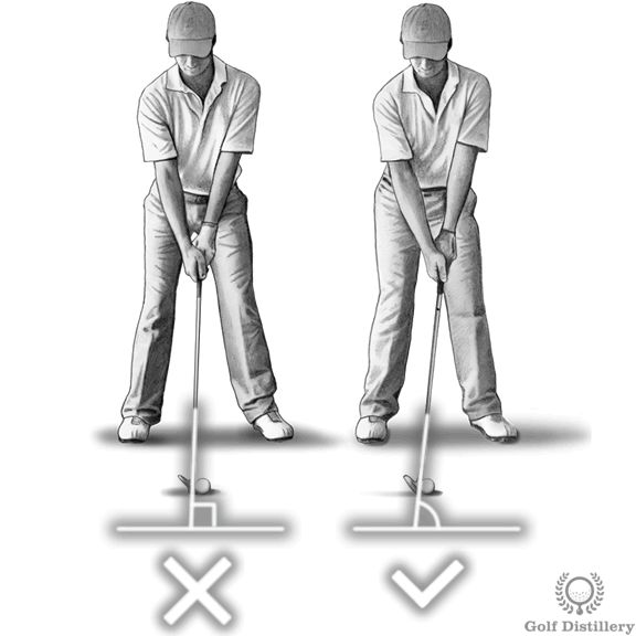 Remember to press your hands forward at address so that they are located ahead of the ball slightly. This is in contrast to positioning them in line with the ball or behind the ball.