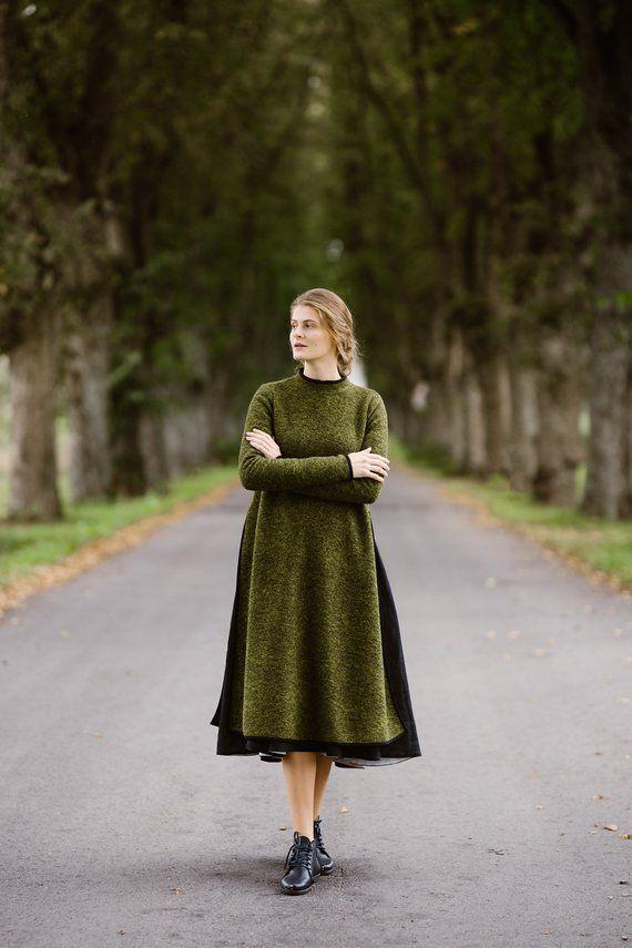 4a15ae2796776a Trui jurk Winter trui wollen trui groene Sweater trui lange