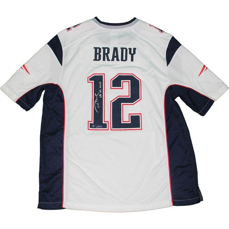 Tom Brady Signed New England Patriots Nike Elite White Jersey w/ 'SB 49 MVP' Insc.