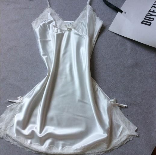 Ladies Sleepwear, Silk Satin Night Dress, V-Neck Nighties For Women, White