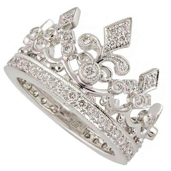 Preowned Garrard Diamond White Gold Crown Ring ($7,820) ❤ liked on Polyvore featuring jewelry, rings, cocktail rings, white, 18k ring, white gold jewellery, white diamond ring, statement rings and diamond rings