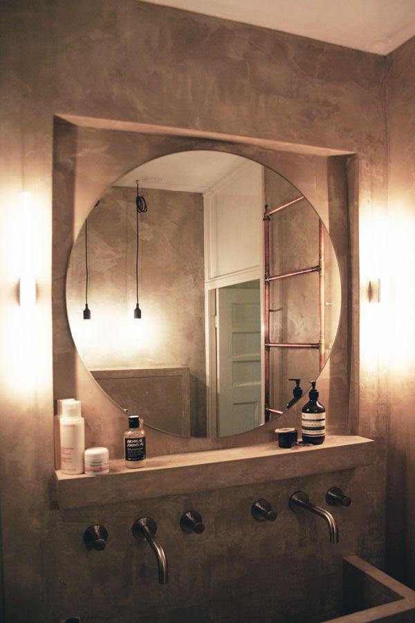 Betoncire badkamer, verwarming koperen buizen detimmerendearchitect.nl