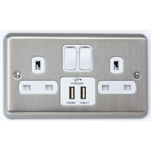 USB Charging Socket- Satin Chrome with white Insert