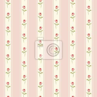 Fotomurale Carino seamless Shabby Chic con rose e pois ideali per le industrie tessili cucina o tessuto biancheria da letto, tende o interior design carta da parati, può essere utilizzato per la carta rottami di prenotazione, ecc