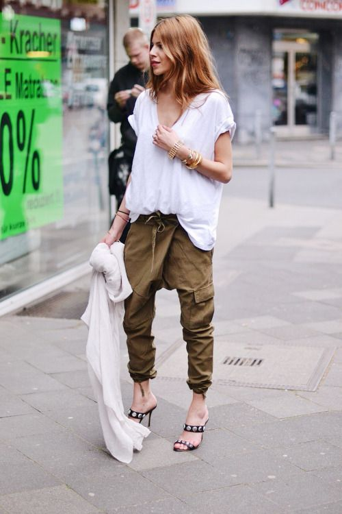 Slouchy t-shirt and harem pants.Perfect spring style.