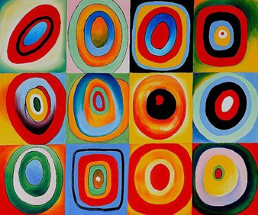 "Oil painting of ""farbstudie quadrate iii""  By: wassily kandinsky"