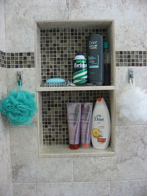 his and her shower storage and hooks