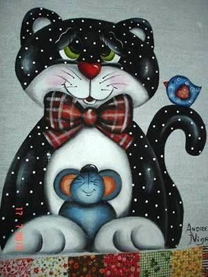 cat and friends. would make cute quilt pattern