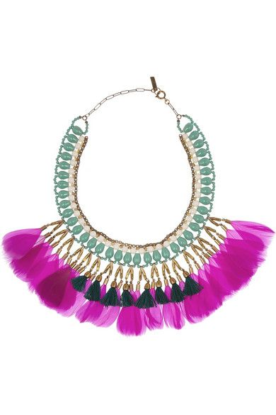 Isabel Marant's pink feathers necklace <3