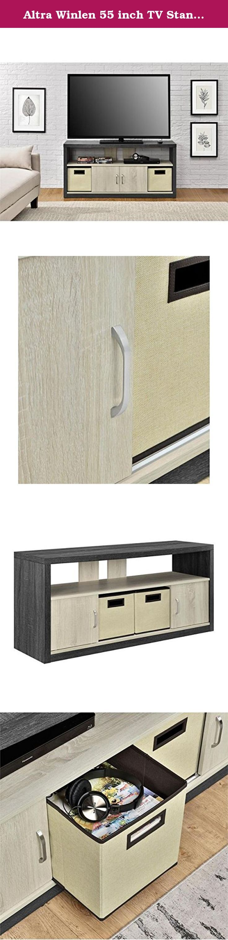 Altra Winlen 55 inch TV Stand with 2 Fabric Bins. Update your living room with the beautiful two-tone Winlen TV Stand with 2 Fabric Bins. It's not only a great looking piece, but it is also very functional with both open and closed storage for all your entertainment needs. The thick outer frame is a dark brown espresso while the inner shelves and sliding doors are a light brown oak giving this contemporary TV Stand a fresh look. The large top surface is curved, providing even more space…