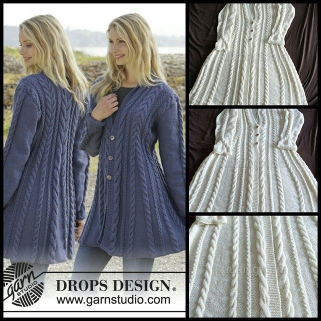 Hand knitted fit n flared aran style jacket cardigan with cables for ladies £145.00