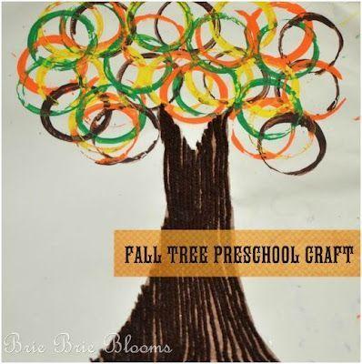 fall tree preschool craft - kids dip paper towel rolls in paint and stamp as leaves