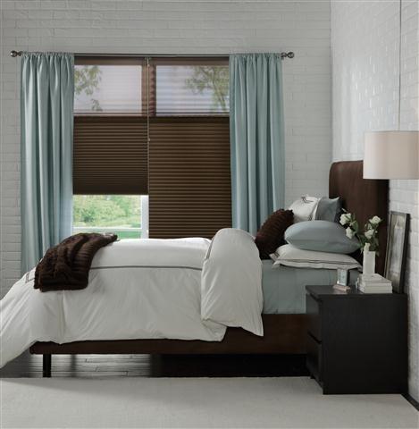 chocolate signature series latour trilight shade and aqua drapery panels