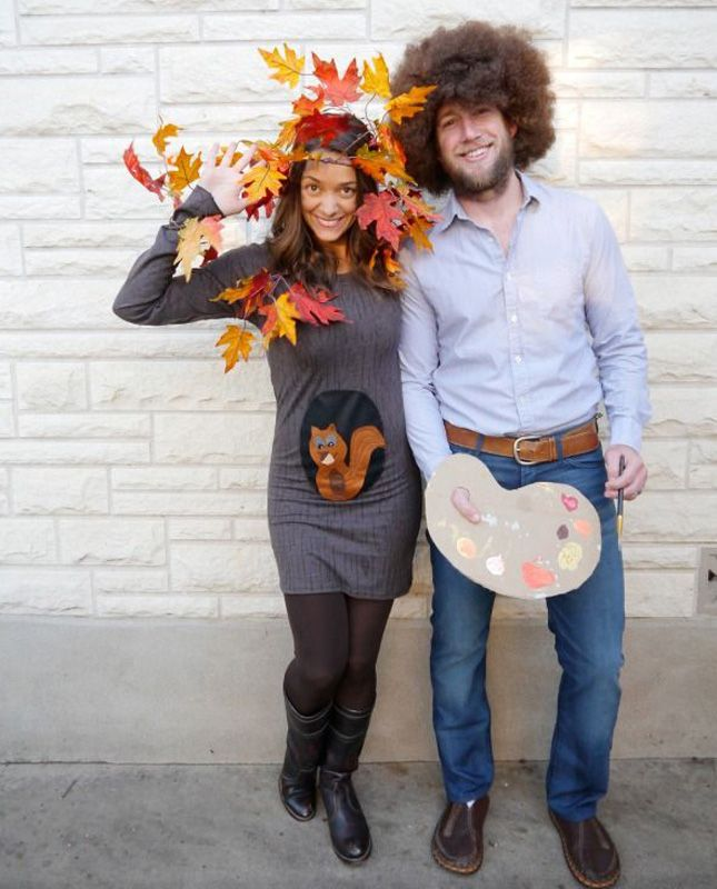 Bob Ross + Happy Little Tree; 100 Creative DIY Couples Costumes for Halloween via Brit + Co.