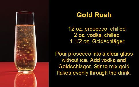 Gold Rush Cocktail Goldschlager, Vodka, Prosecco