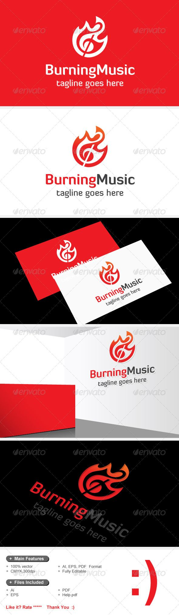 Burning Music & Fire Song Logo — Vector EPS #tone #artist • Available here → https://graphicriver.net/item/burning-music-fire-song-logo/7530136?ref=pxcr