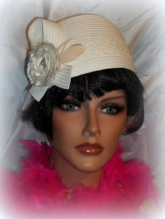 Vintage Style womens cloche hat off white by ...