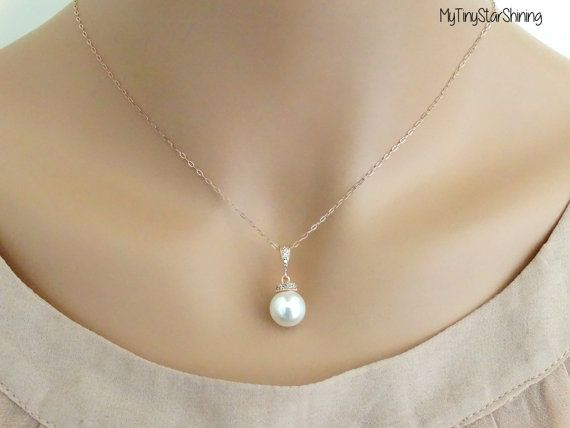 WHITE Pearl Necklace ROSE GOLD Pearl Necklace 14k rose gold