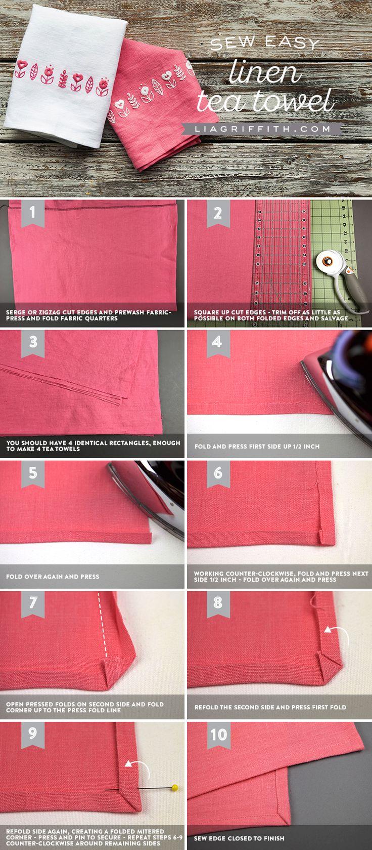Homemade Linen Tea Towels: