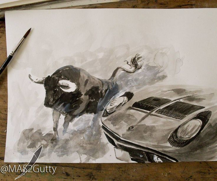 Bravo Toro!!! Lamborghini Miura Chinese/Ink  #carporn #car #Art #artwork…