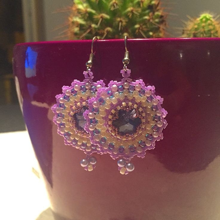 Beaded earrings with puro le Swarovski