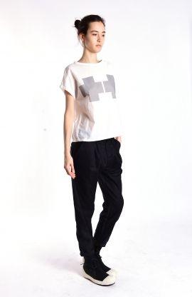 Combined fabric black pants   Adelina Ivan Studio