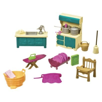 Li'l Woodzeez Kitchenette and Housekeeping Set (so cute and toddler friendly!)