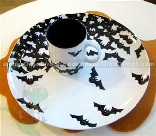 Halloween Handmade Ceramic Bats Pattern Candy Plate Cup Set - DinoDirect.com