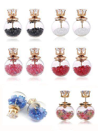 Meenaz Multicolor Brass Combo Of 6 Stud Earring For Women/Girls