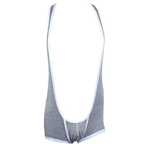 "From 9.95 Iiniim Sexy Mens Suspenders Wrestling Singlet Bodysuit Sportswear Boxer Underwear Gray Medium(waistline:31.0""-47.0"")"