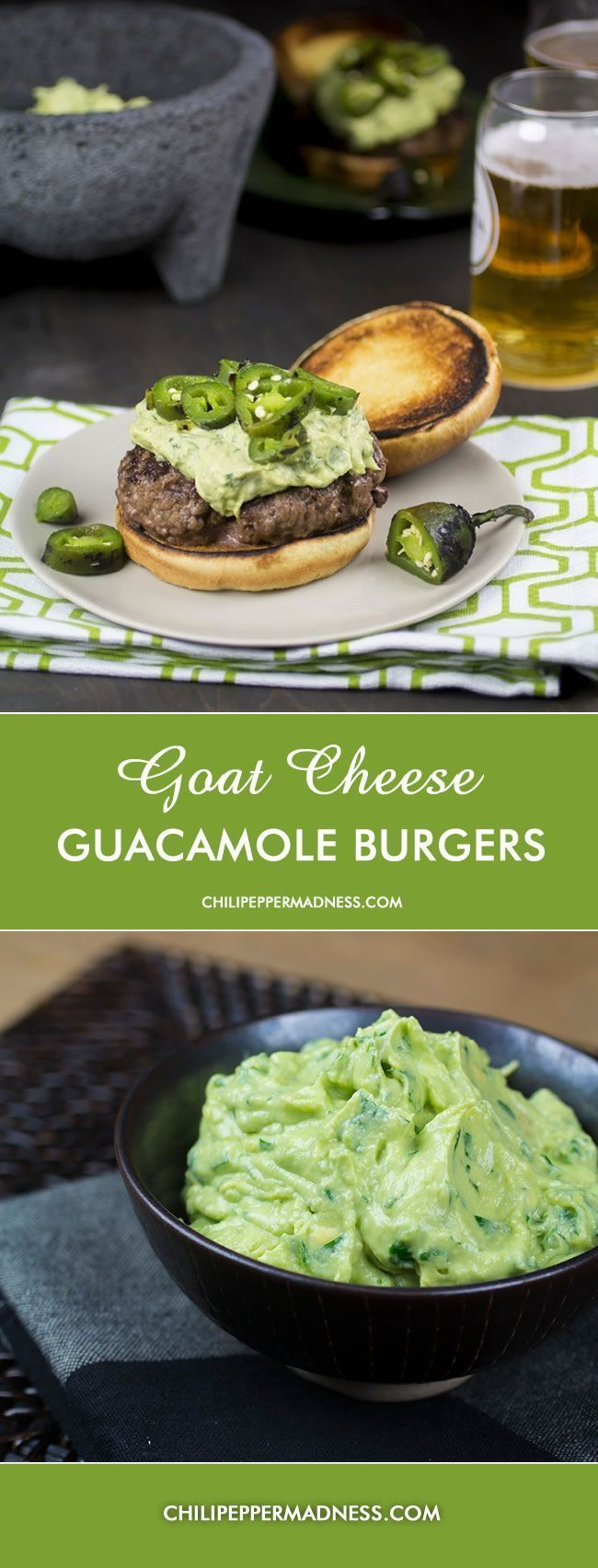 Goat Cheese Guacamole Burgers with Roasted Jalapeno Peppers from Chili Pepper Madness