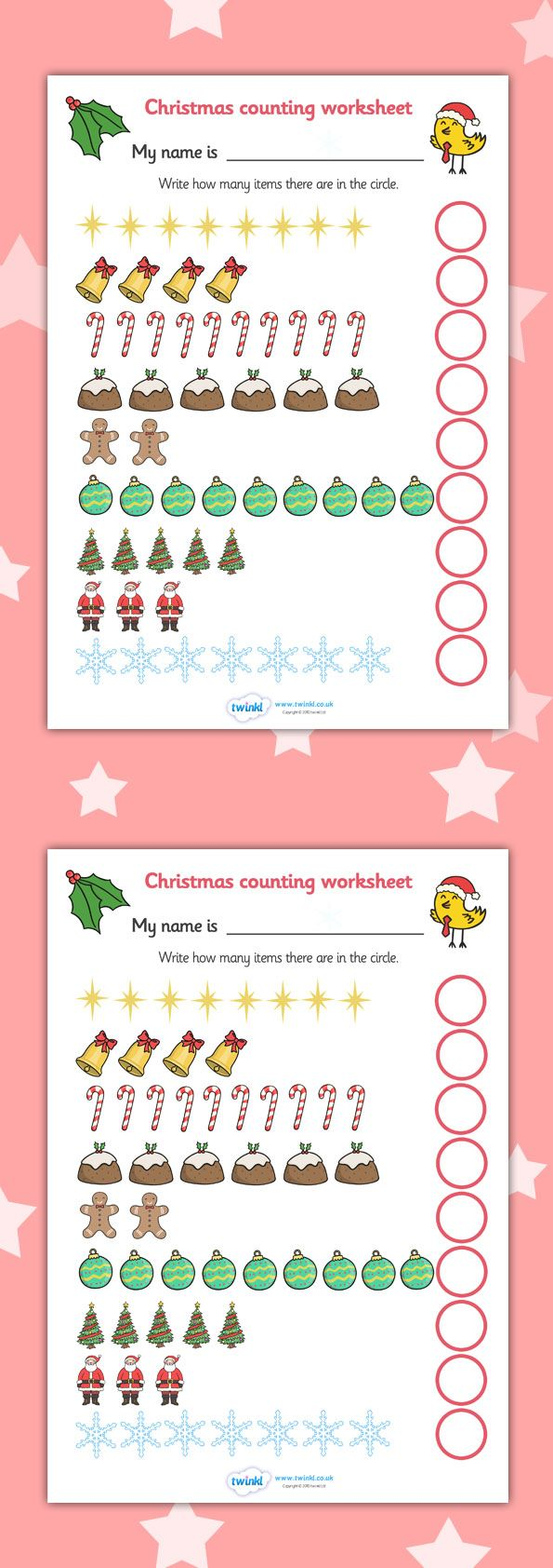 Twinkl Resources >> Counting at Christmas Worksheet  >> Classroom printables for Pre-School, Kindergarten, Elementary School and beyond! Math, Numbers, Counting, Worksheets, Activities, Christmas