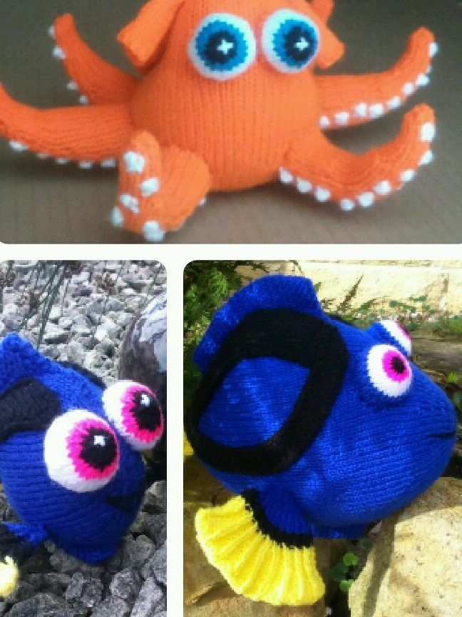 DORY HANK, DORY FISH and BABY DORY KNITTING PATTERNS