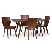 Baxton Studio Elsa Mid-century Modern Scandinavian Style Dark Walnut Bent Wood Dining Table Baxton Studio restaurant furniture, hotel furniture, commercial furniture, wholesale dining room furniture, wholesale dining table, classic dining table