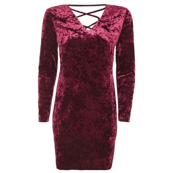 PETITE Lace Up Velvet Bodycon Dress - New In- Topshop ❤ liked on Polyvore featuring dresses, velvet dress, petite bodycon dresses, petite dresses, lace up dress and purple dress