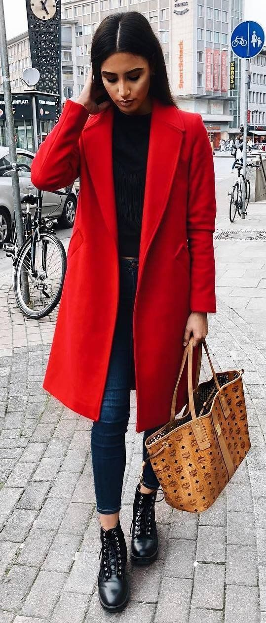 fall ashion trends / red coat + black top + bag + skinnies + boots