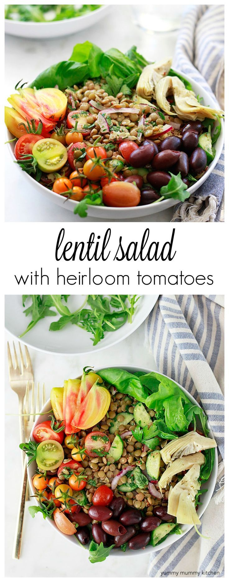 The BEST lentil salad! This vegan lentil salad with heirloom tomatoes, cucumber, and mustard vinaigrette is so good. Keep a batch in the fridge and eat well all week long. Lentils are a great source of plant-based protein and iron.
